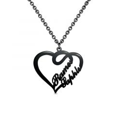 Overlapping Heart Two Name Necklace Black