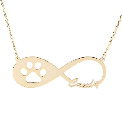 Cat Paw Infinity Name Necklace