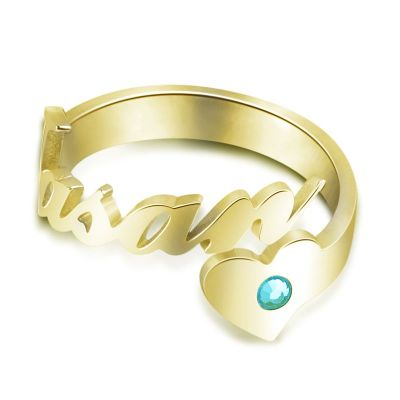 Personalized Name Ring with Birthstone Adjustable Open Cuff
