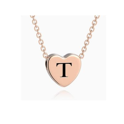 Delicate Engraved Heart Initial Necklace