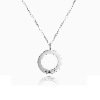 """Love Conquers All"" Personalized Disc Necklace"
