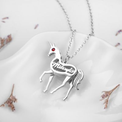 Unicorn Personalized Necklace with Birthstone