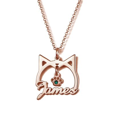 Cute Cat Shape Name Necklace With Birthstone