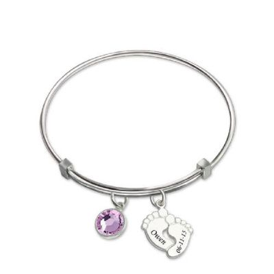 Bangle With Baby Feet And Birthstone