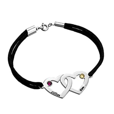 Couples Hearts Bracelet with Birthstones