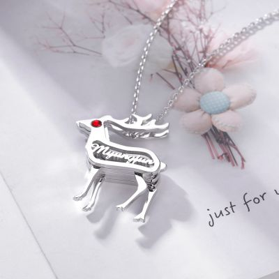Deer Personalized Necklace with Birthstone