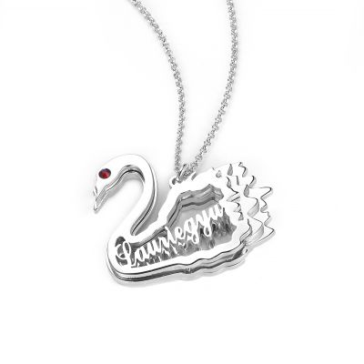 Swan Personalized Necklace with Birthstone