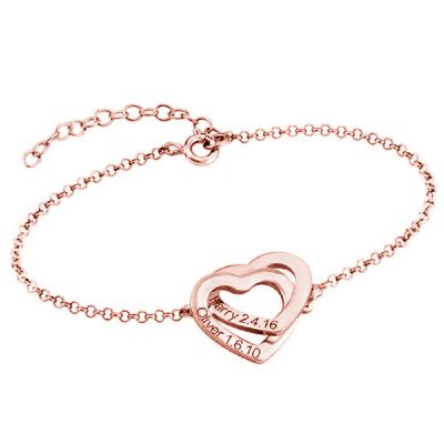 Interlocking Adjustable Hearts Bracelet