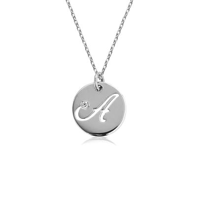 Initial Coin Pendant Necklace With Birthstone