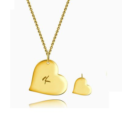 Initial Heart Necklace With Engraving