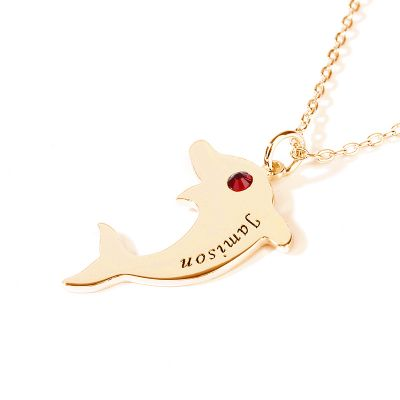 Engraved Dolphin Necklace with Birthstone