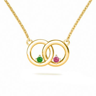 Interlock Necklace With Your Choice of Birthstone
