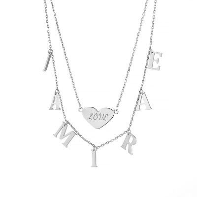 Personalized Initial Necklace with Heart Engraving