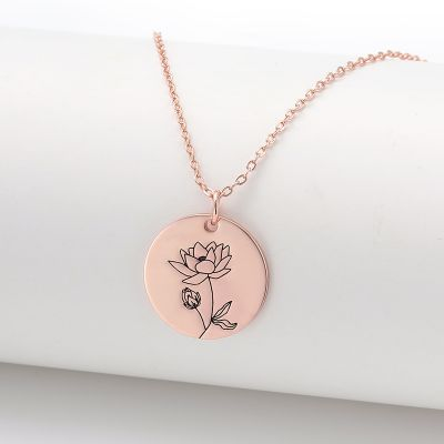 July Water lily Birth Flower Disc Necklace