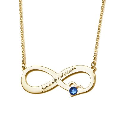 Memorial Personalized Infinity Necklace With Birthstone