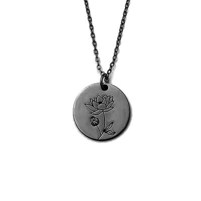 Water lily For July Birth Flower Disc Silver Necklace