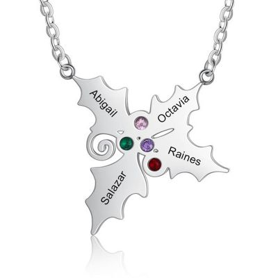"""""""Christmas Gifts"""" Personalized Family Tree Necklace With Birthstore"""