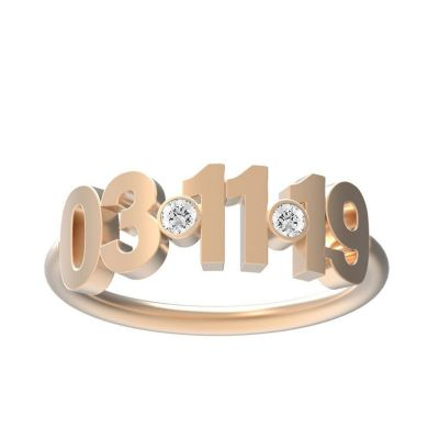 Custom Birthstone Date Ring