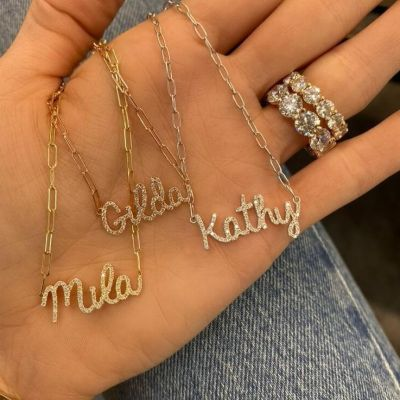 Personalized  Diamond Pave Name Necklace