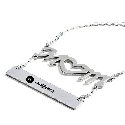 Mom Scannable Spotify Code Necklace Engraved Bar Necklace Set