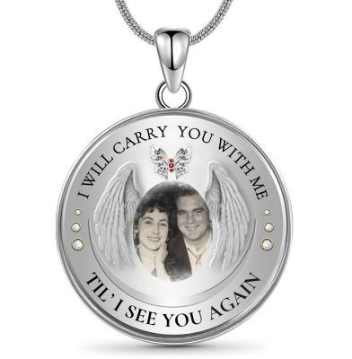 Personalized I Will Carry You with Me  Photo Memorial Necklace