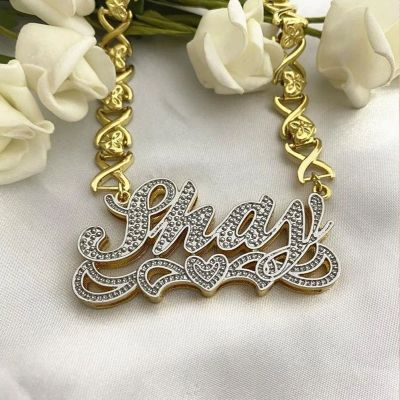 Double Layer Love Heart Custom 3D Name Necklace