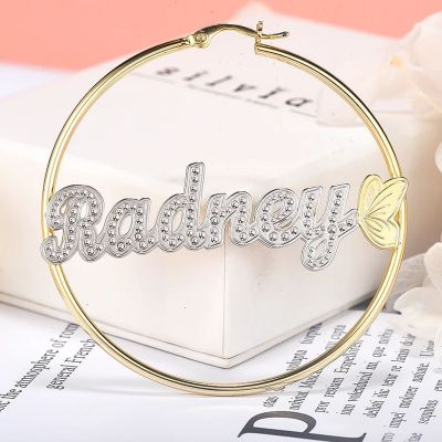 Butterfly Two Tone Personalized Name Hoop Earrings