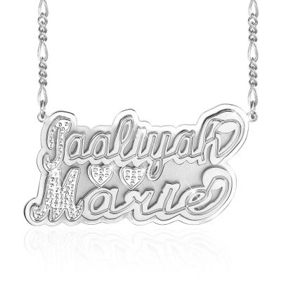 Two Tone Personalized Name Necklace with Two Hearts