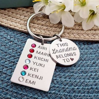 Unique Engraved Keychain With Birthstone