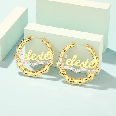 Gold Plated Personalized Bamboo Name Earrings