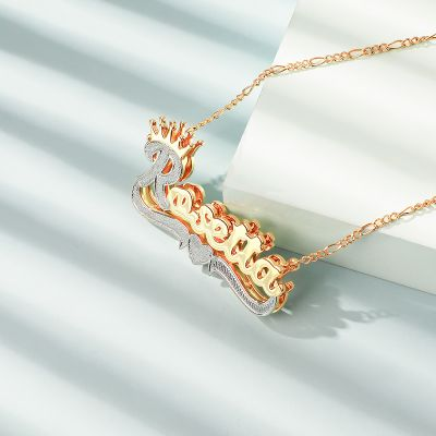 Two Tone Crown Love Heart Name Necklace