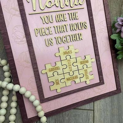 """""""You Are The Piece That Holds Us Together"""" Personalized Custom Frame Purple"""