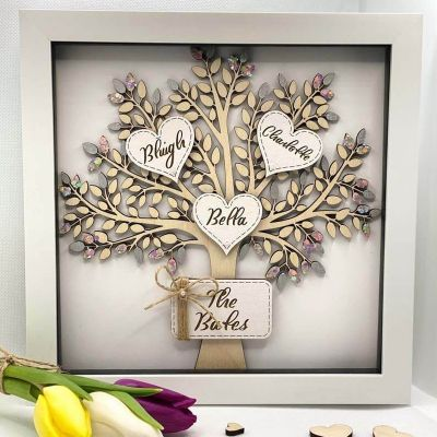 Personalized Custom Family Tree with 1-12 Names 10*10 inches