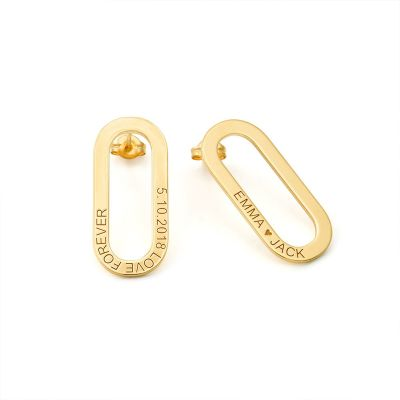 Personlized Single Chain Link Earrings With Engraving