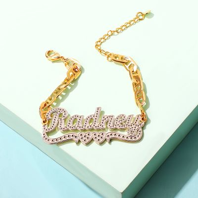 Two Hearts Personalized Name Bracelet