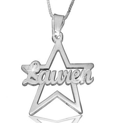 Your Special Star Custom Name Necklace Silver