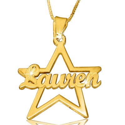 Your Special Star Custom Name Necklace Gold