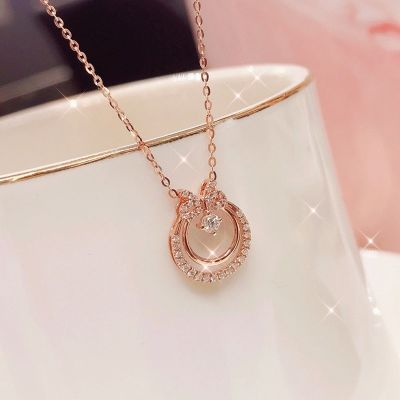 Classic Bow Necklace Rose Gold