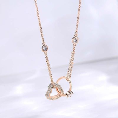 Simple Heart Pendent Necklace Rose Gold