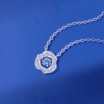 Fashion Silver Necklace With Sapphire For Women