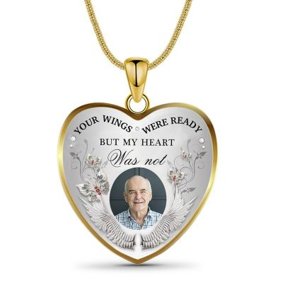 Custom Photo Memorial Necklace Forever Love In Heart Yellow Tone